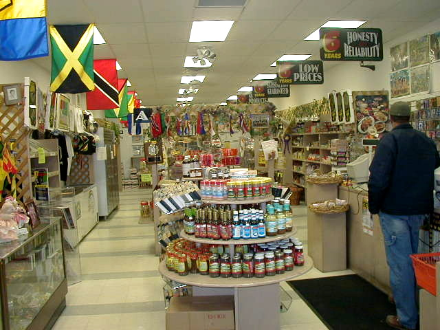 Inside view of Sam's Caribbean Marketplace, Hempstead, Long Island, New York.  Sam's is Long Island's number one source for Jamaican food, including Jamaican Beef Patties, and other Jamaican Patties as well.  We carry both Golden Krust Bakery Jamaican patties and Royal Caribbean Bakery (Caribbean Food Delights) Jamaican Patties.  We also carry dozens of other Caribbean food products.  Enjoy a bit of Jamaican culture today.  Buy Jamaican food online. West Indian food. Caribbean food. Food from Jamaica.